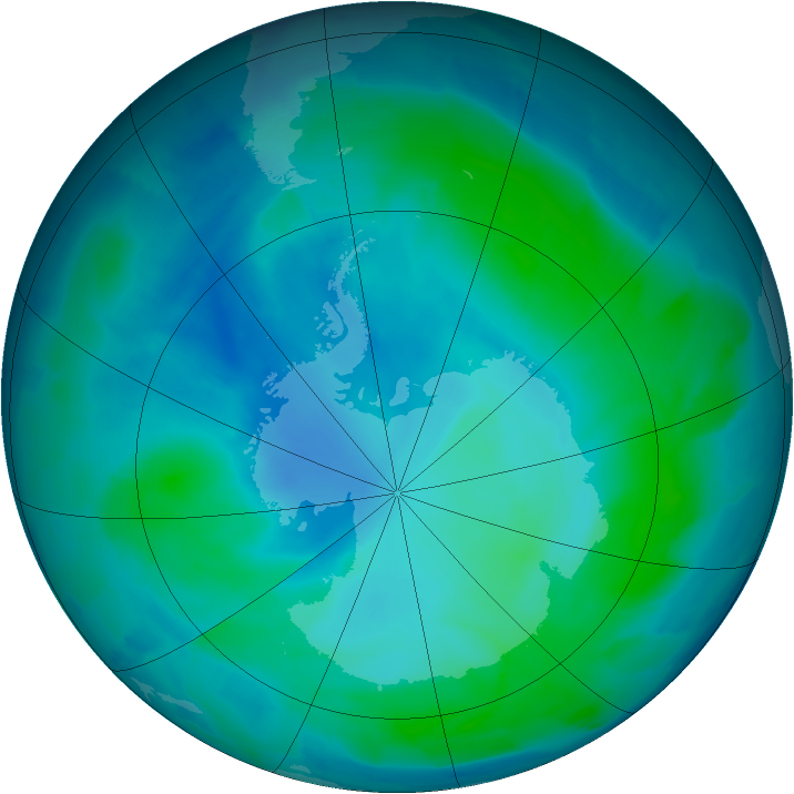 Antarctic ozone map for 22 February 2012