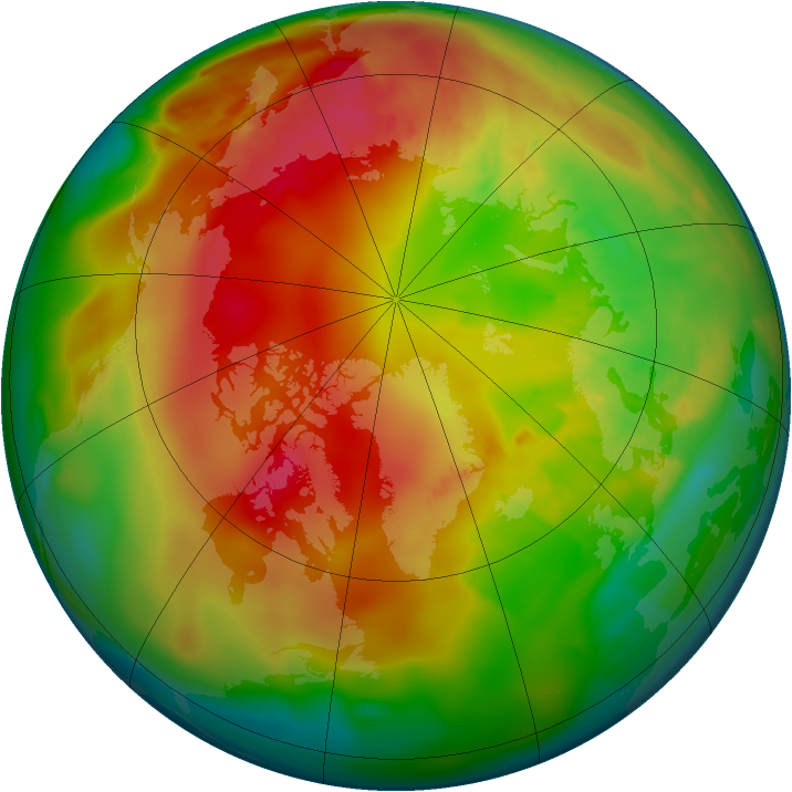 Arctic ozone map for 25 February 2012