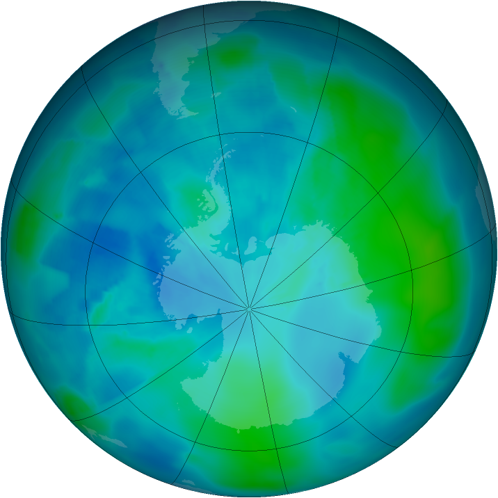 Antarctic ozone map for 26 February 2012