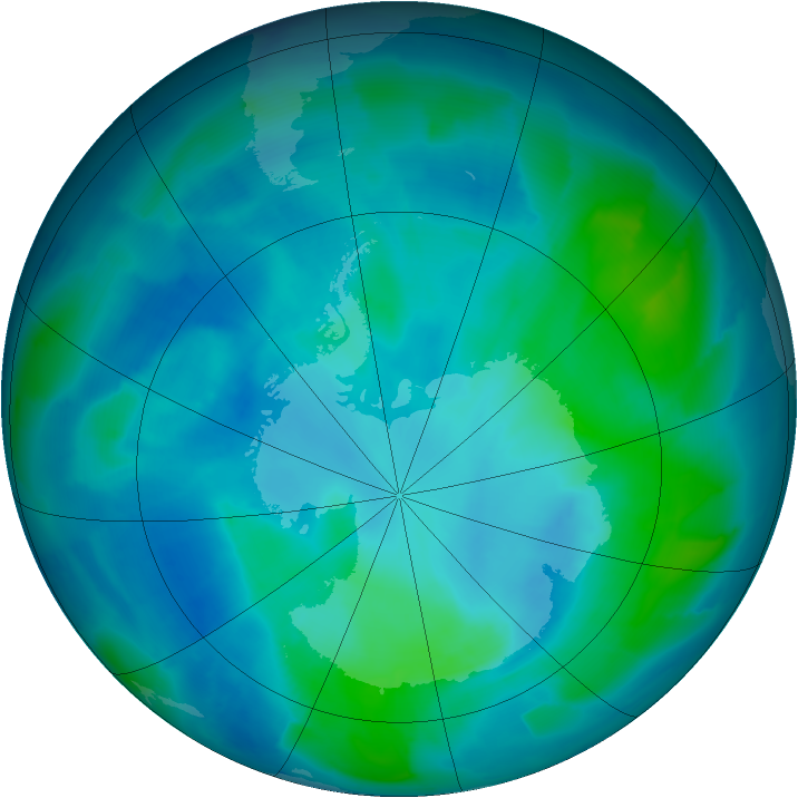 Antarctic ozone map for 27 February 2012