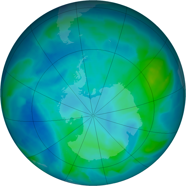 Antarctic ozone map for 28 February 2012
