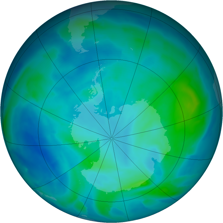 Antarctic ozone map for 29 February 2012
