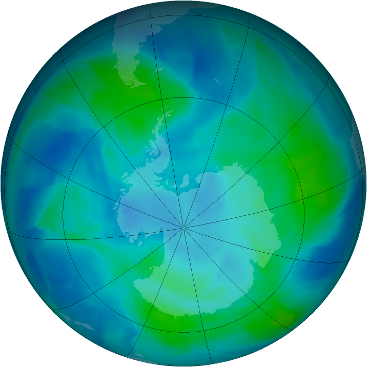 Antarctic ozone map for 05 March 2012
