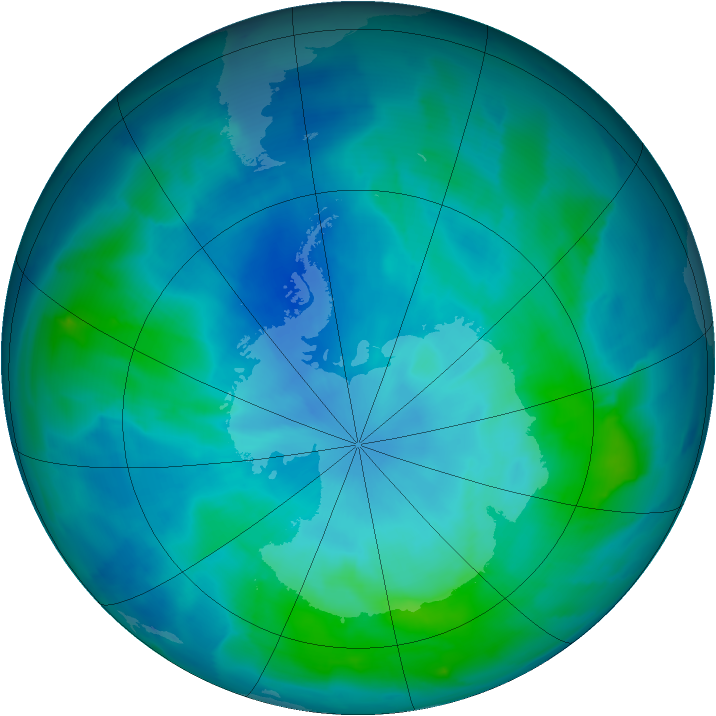 Antarctic ozone map for 11 March 2012