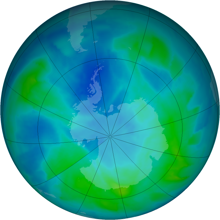 Antarctic ozone map for 12 March 2012