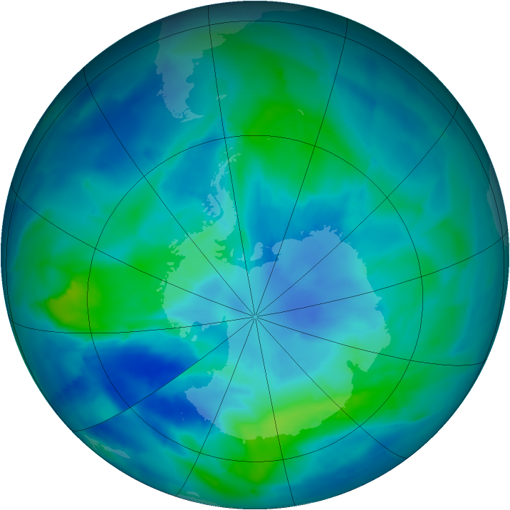 Antarctic ozone map for 22 March 2012
