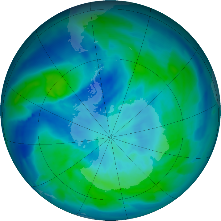 Antarctic ozone map for 26 March 2012
