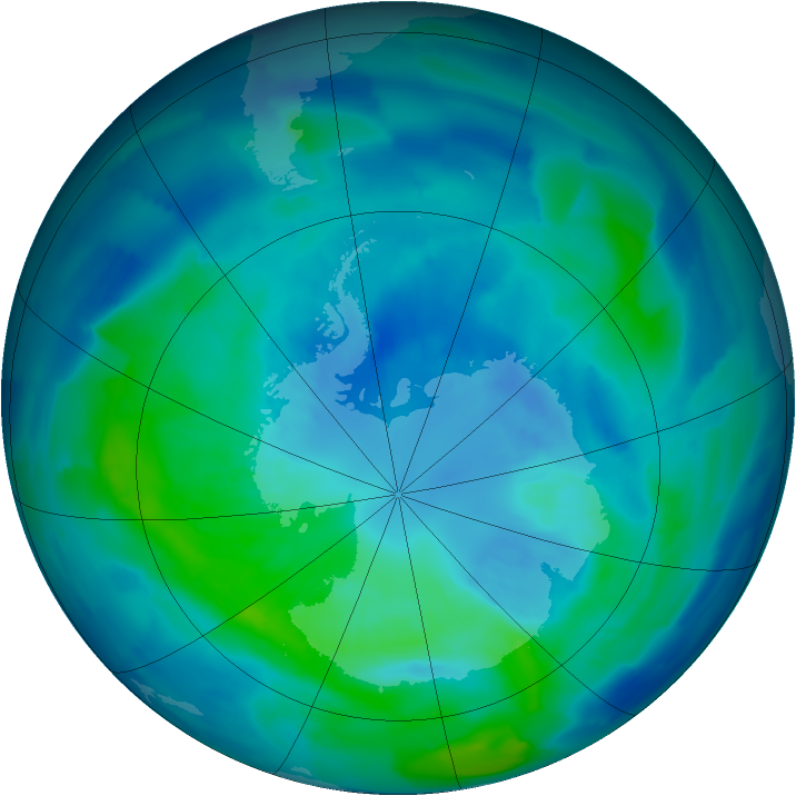 Antarctic ozone map for 01 April 2012