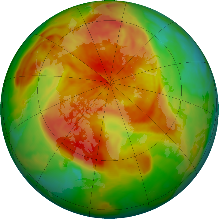 Arctic ozone map for 16 April 2012