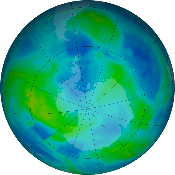 Antarctic ozone map for 23 April 2012