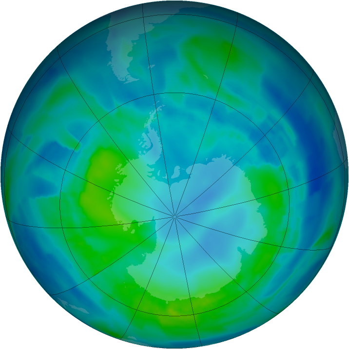 Antarctic ozone map for 25 April 2012
