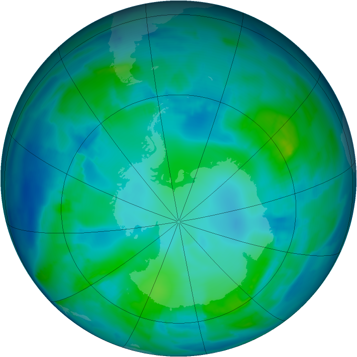 Antarctic ozone map for 02 May 2012