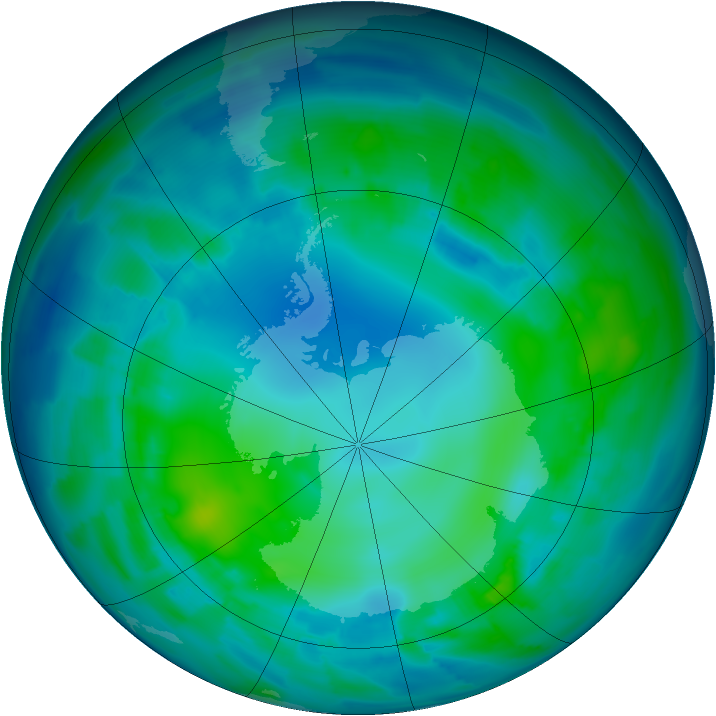 Antarctic ozone map for 04 May 2012
