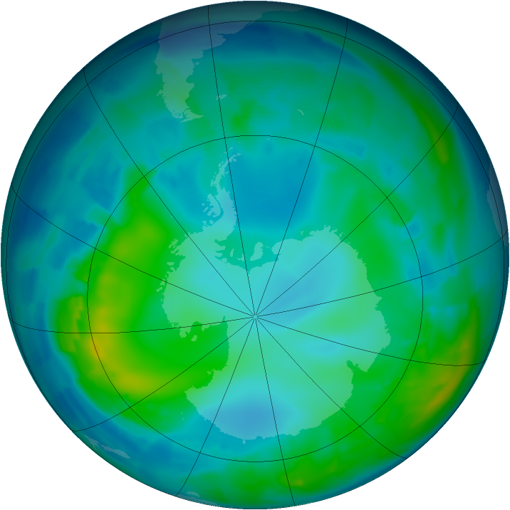 Antarctic ozone map for 09 May 2012