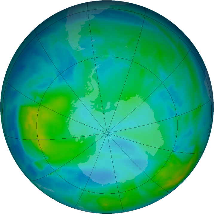 Antarctic ozone map for 10 May 2012
