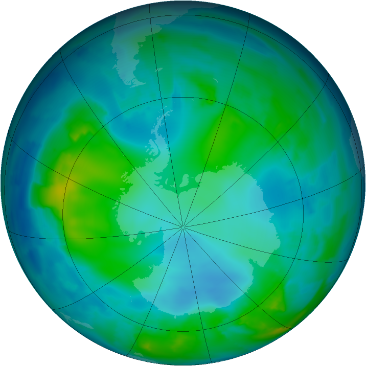 Antarctic ozone map for 11 May 2012