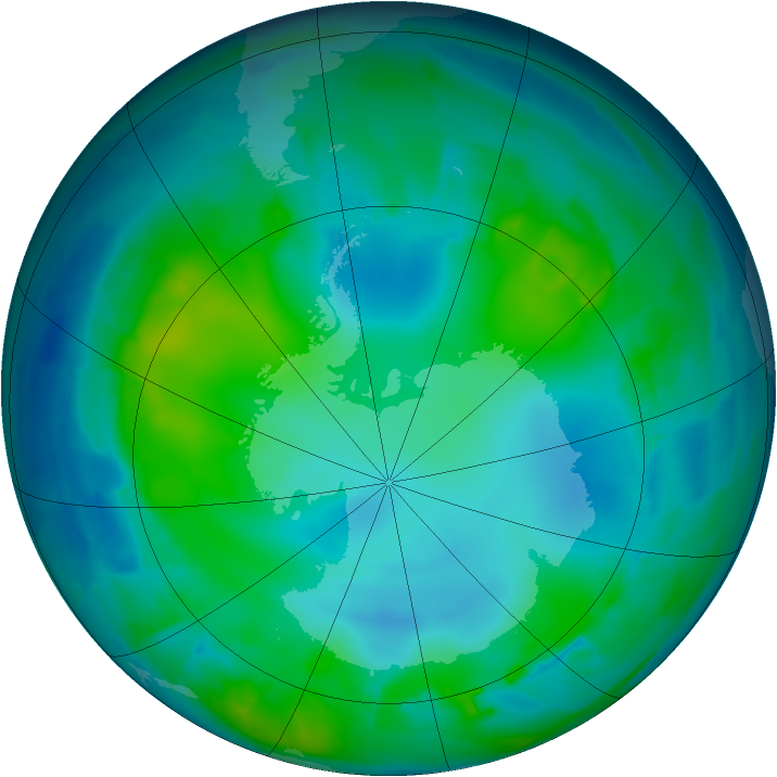 Antarctic ozone map for 12 May 2012