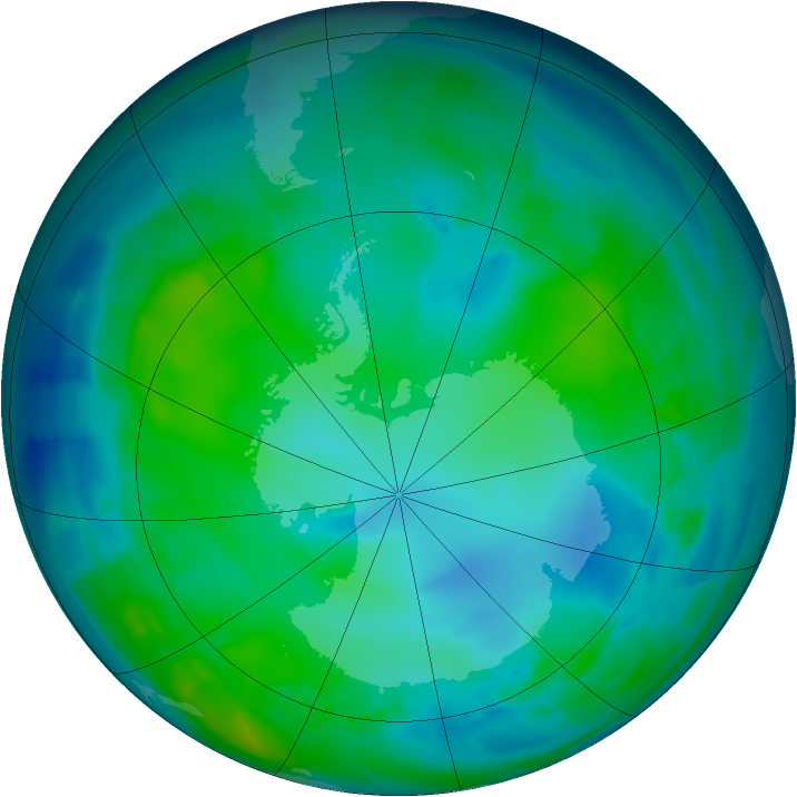 Antarctic ozone map for 13 May 2012