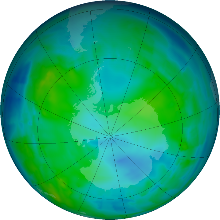 Antarctic ozone map for 14 May 2012
