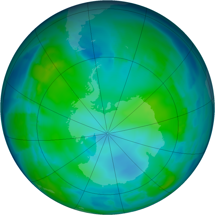 Antarctic ozone map for 15 May 2012