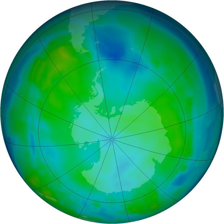 Antarctic ozone map for 16 May 2012