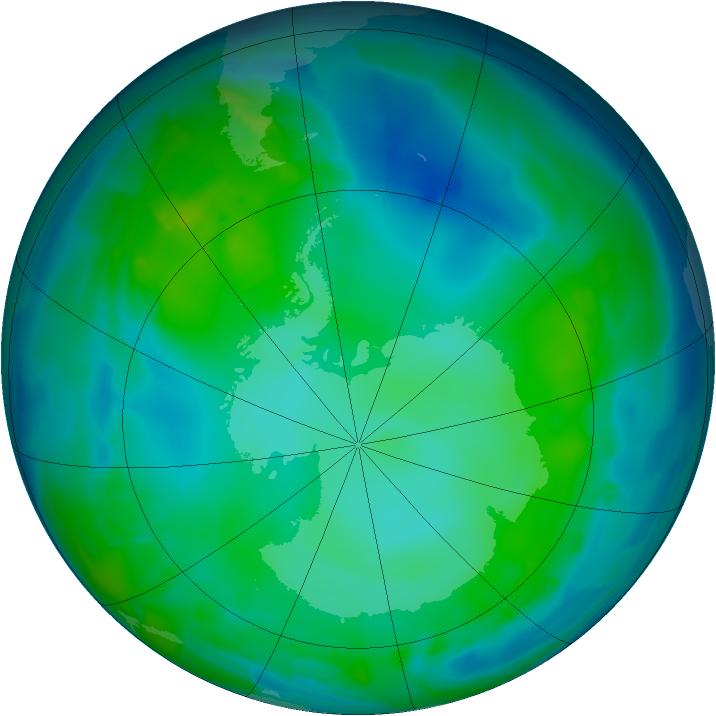 Antarctic ozone map for 17 May 2012