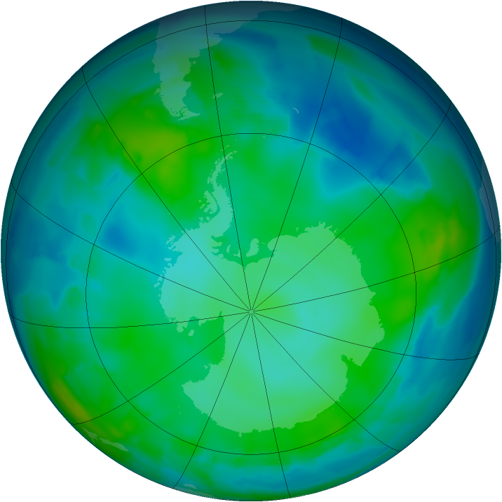 Antarctic ozone map for 18 May 2012