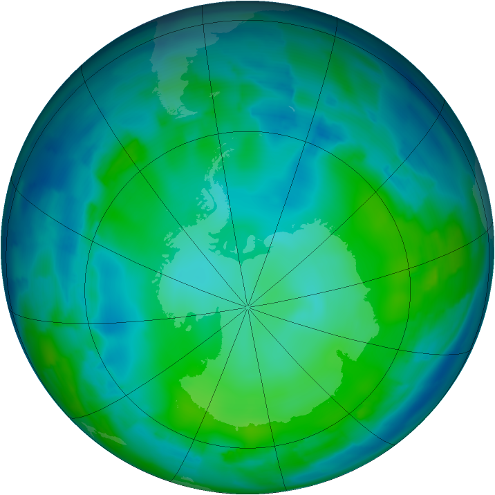 Antarctic ozone map for 20 May 2012