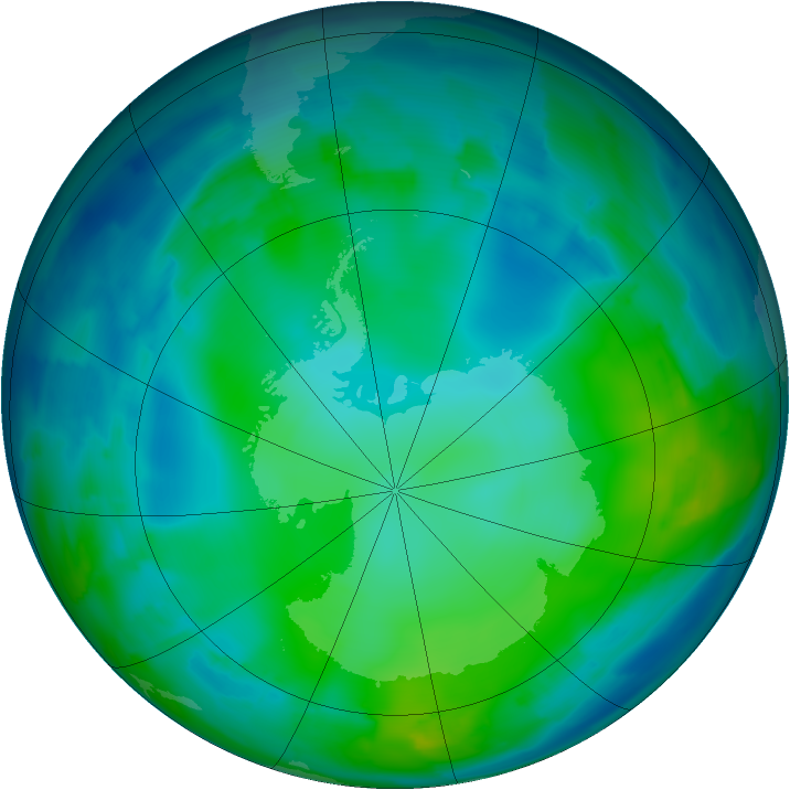 Antarctic ozone map for 21 May 2012