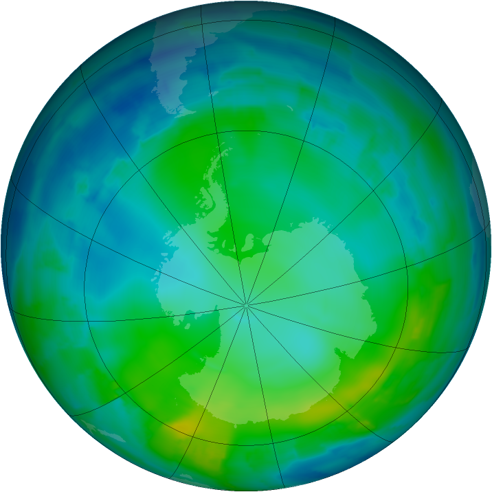 Antarctic ozone map for 23 May 2012