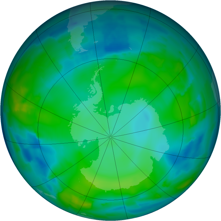 Antarctic ozone map for 27 May 2012