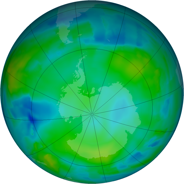Antarctic ozone map for 28 May 2012