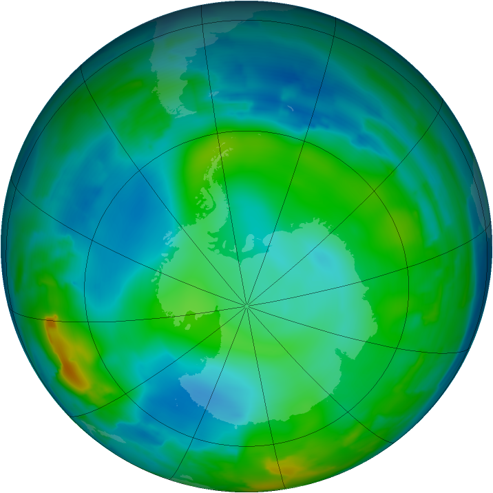 Antarctic ozone map for 13 June 2012