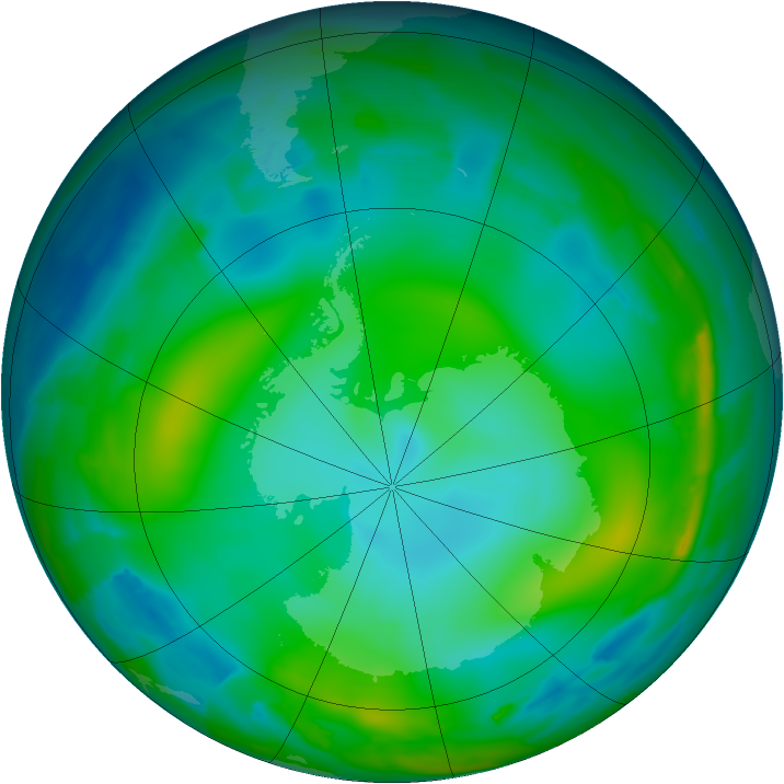 Antarctic ozone map for 19 June 2012