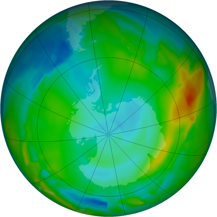 Antarctic ozone map for 06 July 2012