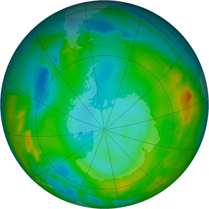 Antarctic ozone map for 08 July 2012