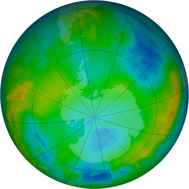Antarctic ozone map for 12 July 2012