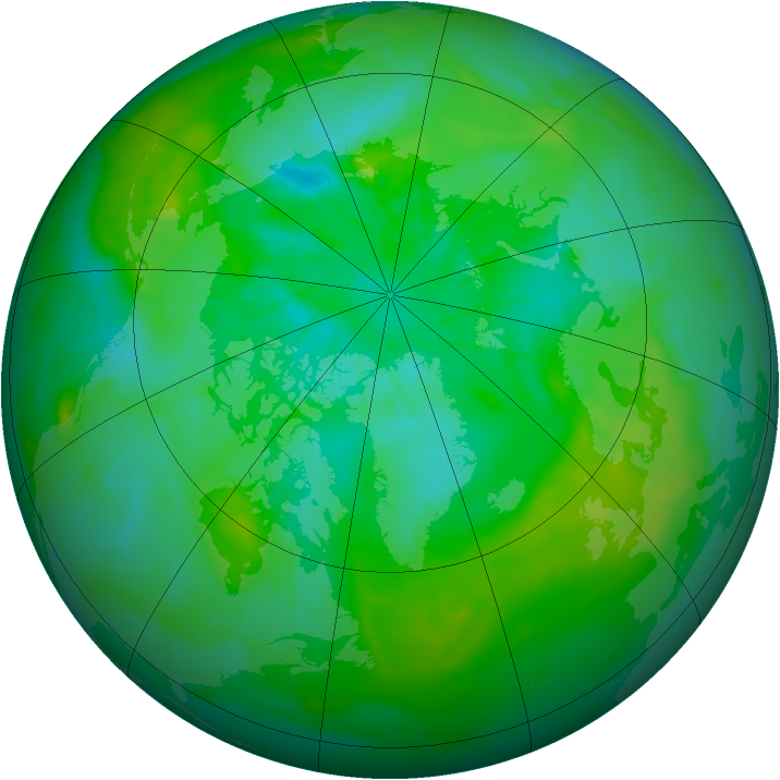 Arctic ozone map for 15 July 2012