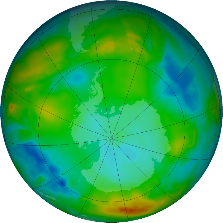 Antarctic ozone map for 15 July 2012