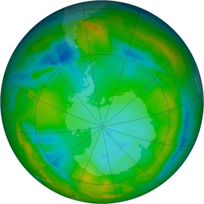 Antarctic ozone map for 19 July 2012