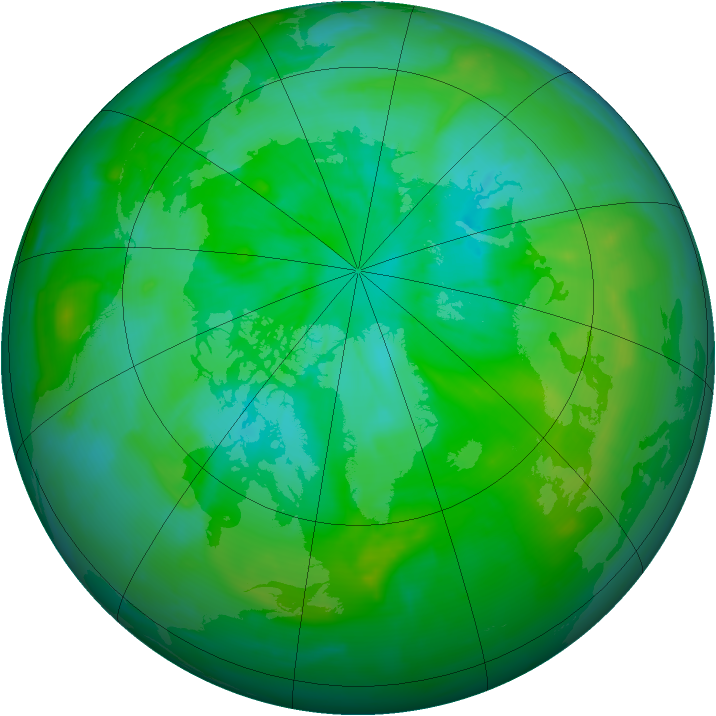 Arctic ozone map for 20 July 2012
