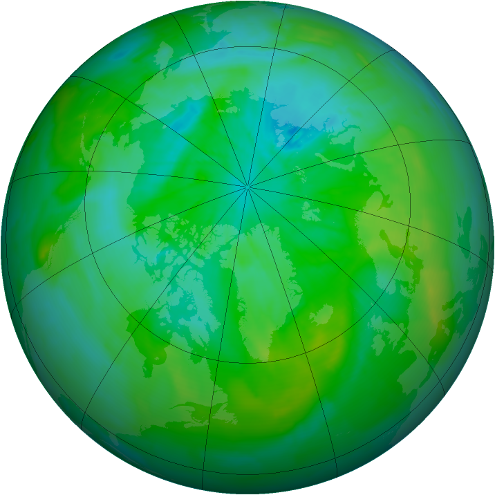 Arctic ozone map for 22 July 2012