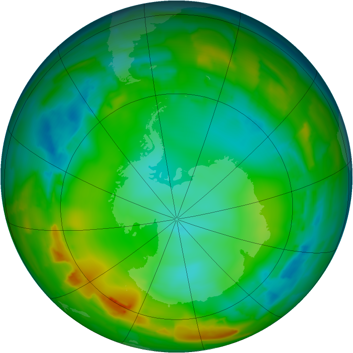 Antarctic ozone map for 22 July 2012