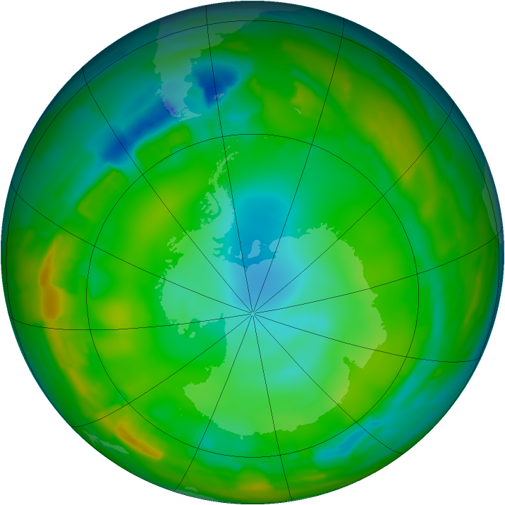 Antarctic ozone map for 24 July 2012