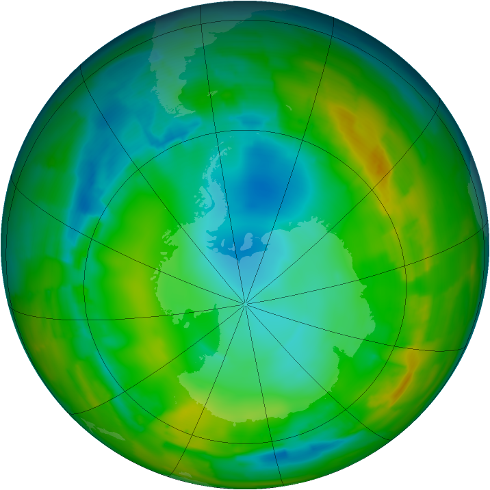 Antarctic ozone map for 28 July 2012