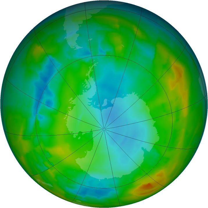 Antarctic ozone map for 30 July 2012