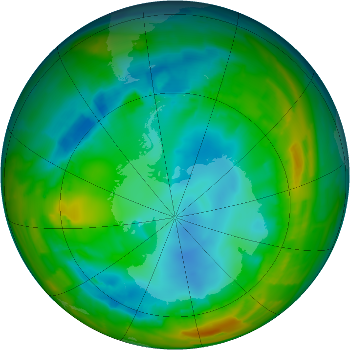 Antarctic ozone map for 02 August 2012