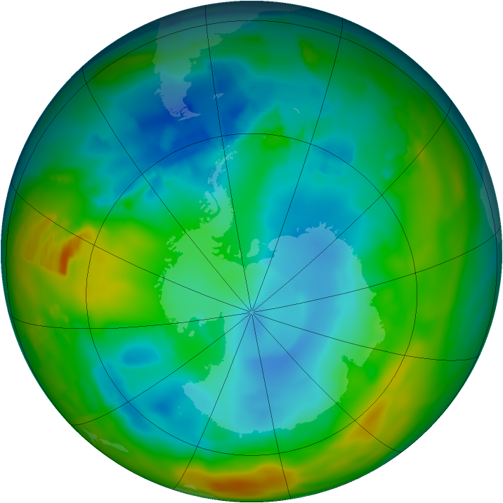 Antarctic ozone map for 04 August 2012