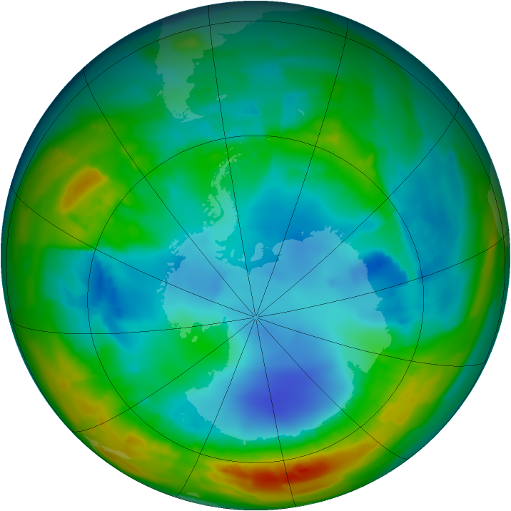 Antarctic ozone map for 07 August 2012