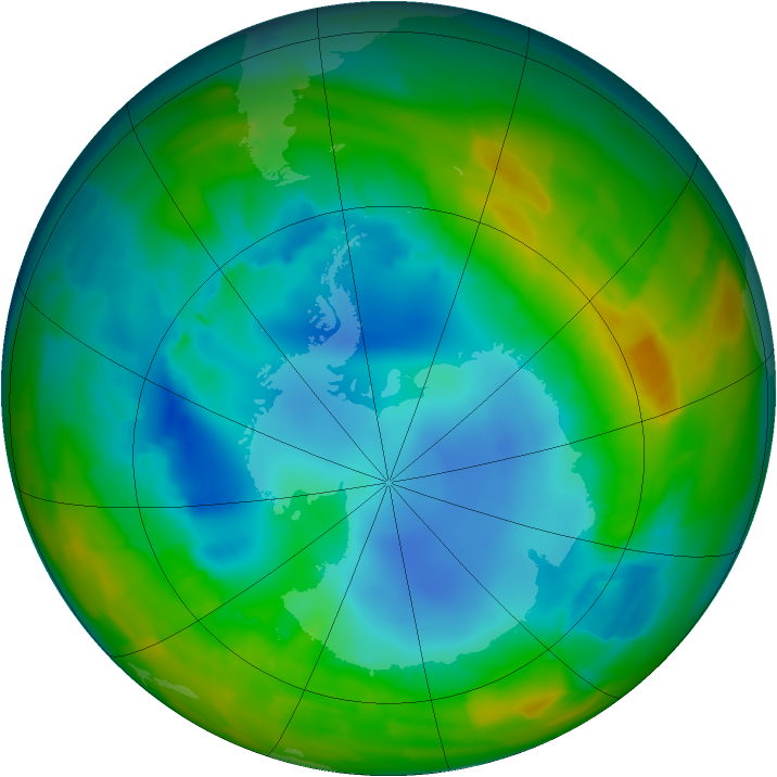 Antarctic ozone map for 11 August 2012